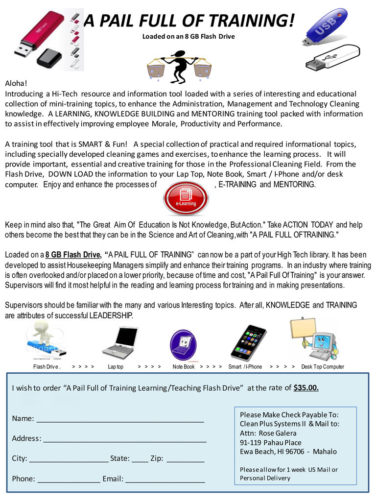 a pail full of training flash drive clean plus systems apft p1